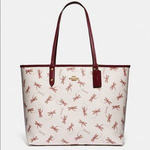 Coach Reversible City Tote With Dragonfly Print